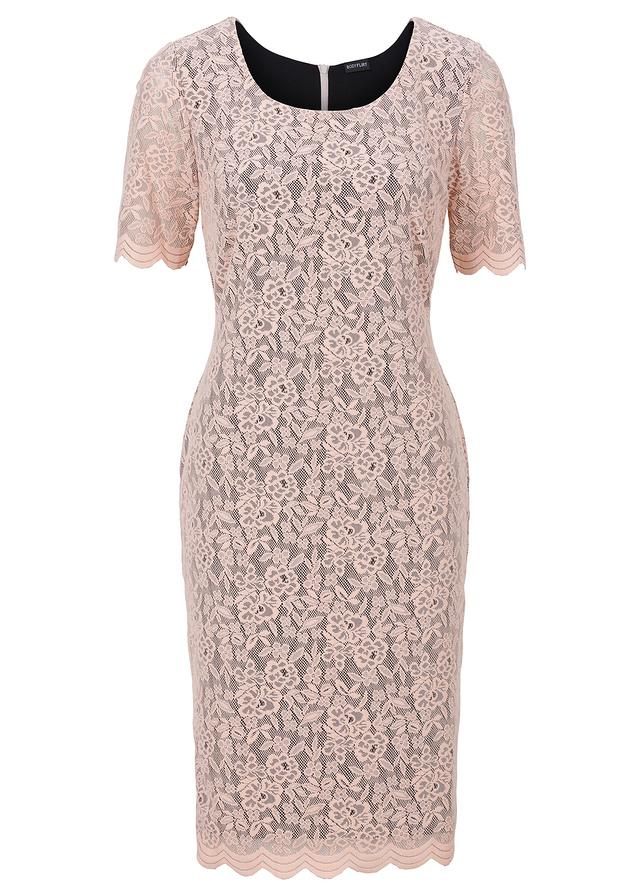 Beżowa sukienka koronkowa 59,99 zł. Materiały prasowe Bonprix