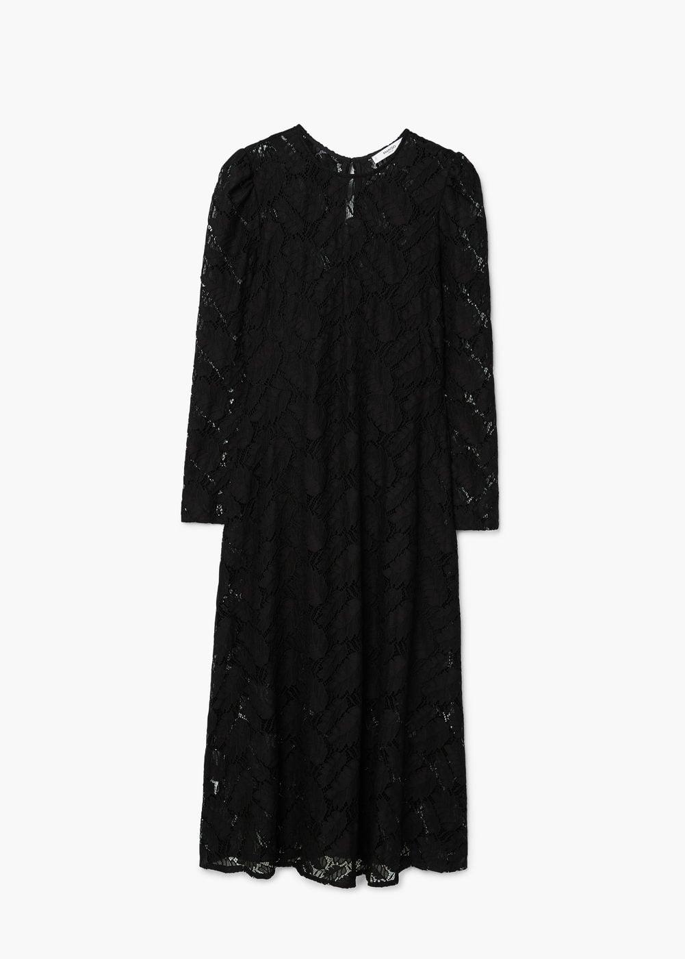 Czarna sukienka koronkowa, dł. 3/4. Cena: 114,90 zł. Materiały prasowe Mango