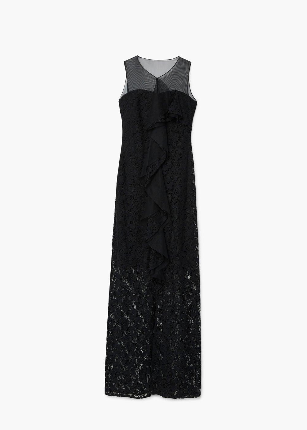 Czarna długa sukienka koronkowa 449,90 zł. Materiały prasowe Mango