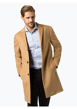 Płaszcz męski camel z dodatkiem kaszmiru - Calvin Klein