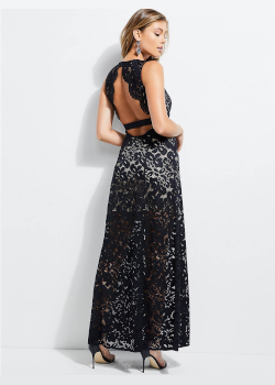 Długa sukienka z przezroczystą koronką grafit Guess