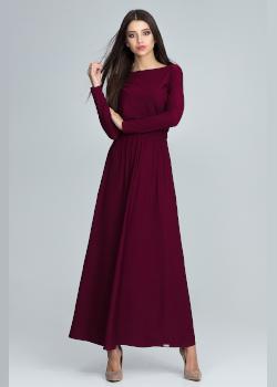 Sukienka na Sylwestra z długim rękawem bordo - Figl - Showroom
