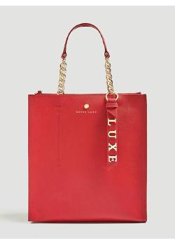 Skórzana czerwona torebka Guess