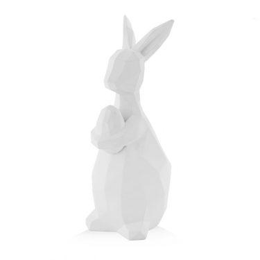 Figurka dekoracyjna wielkanocny królik, biała ceramika, home&you