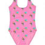 Kostium kąpielowy jednoczęściowy papugi - różowy