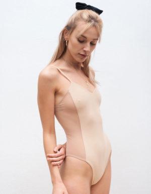 Kostium kąpielowy jednoczęściowy retro - beżowy