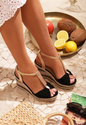 Sandały espadryle na koturnie czarne
